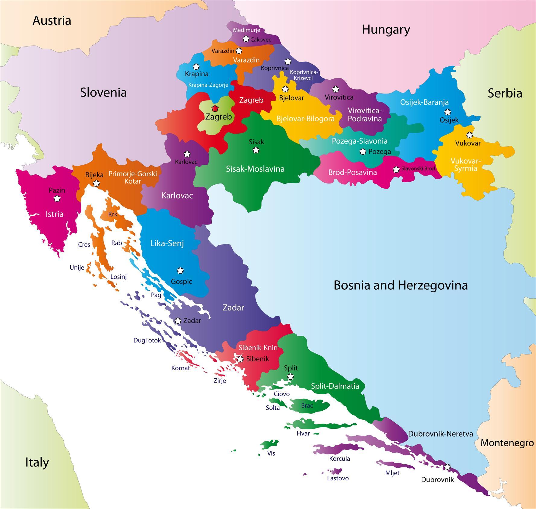 Cartina Della Slovenia E Croazia.Mappe Della Croazia Trasporti Geografia E Mappe Turistiche Della Croazia Nell Europa Meridionale