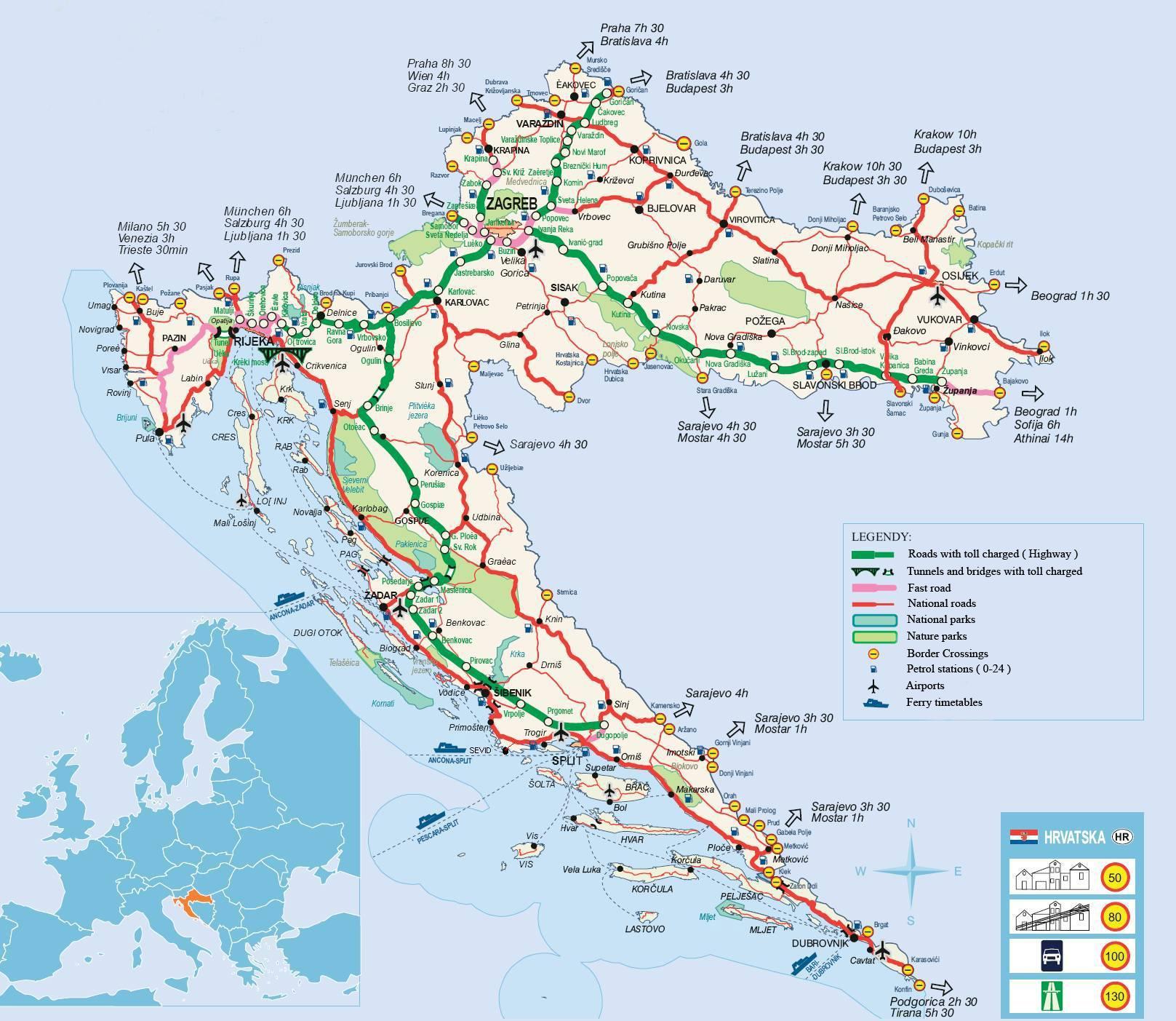 Cartina Geografica Europa Meridionale.Mappe Della Croazia Trasporti Geografia E Mappe Turistiche Della Croazia Nell Europa Meridionale