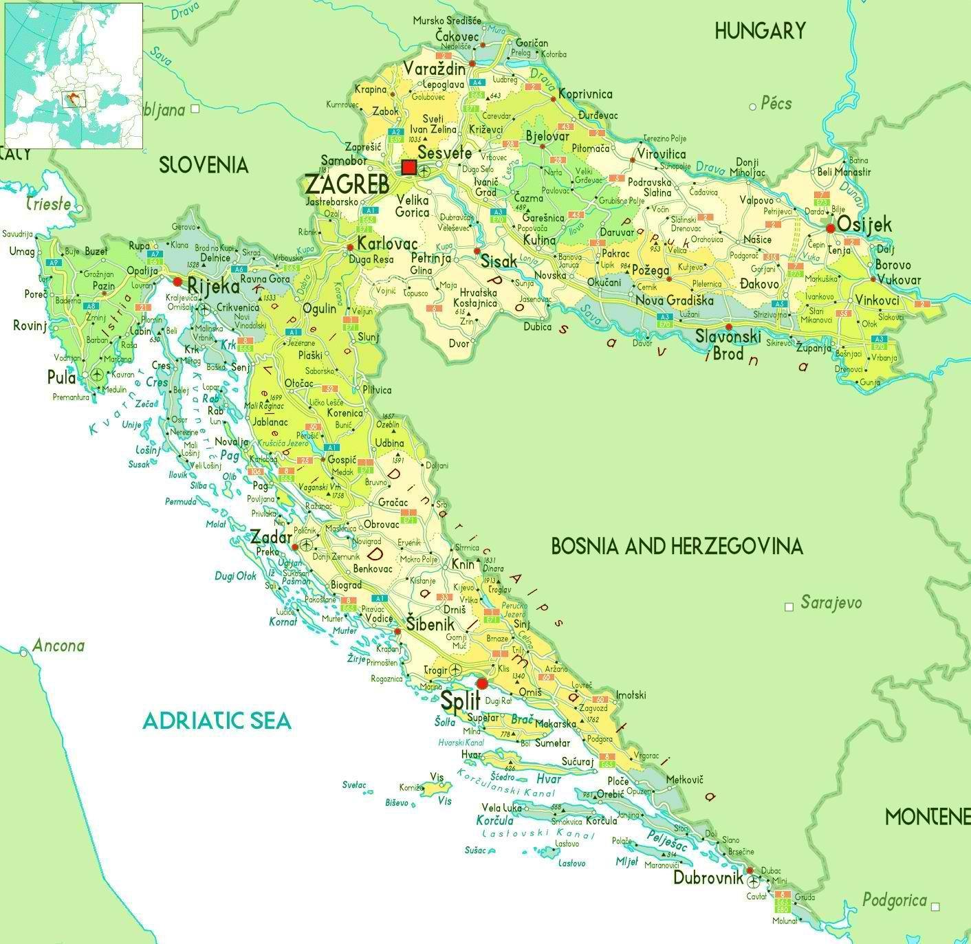 Cartina Slovenia Pdf.Mappe Della Croazia Trasporti Geografia E Mappe Turistiche Della Croazia Nell Europa Meridionale