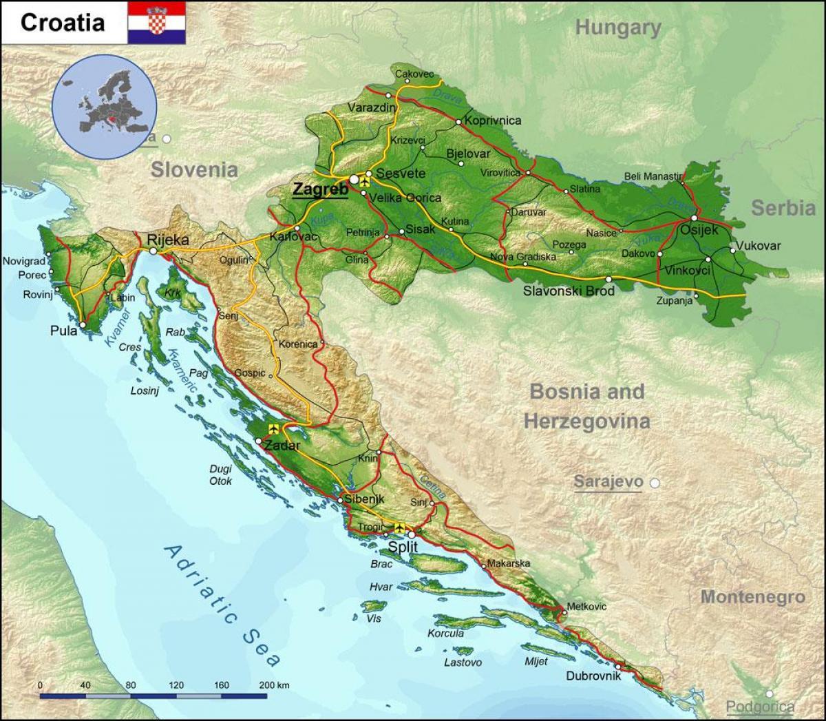 Cartina Geografica Fisica Della Romania.Mappe Della Croazia Trasporti Geografia E Mappe Turistiche Della Croazia Nell Europa Meridionale